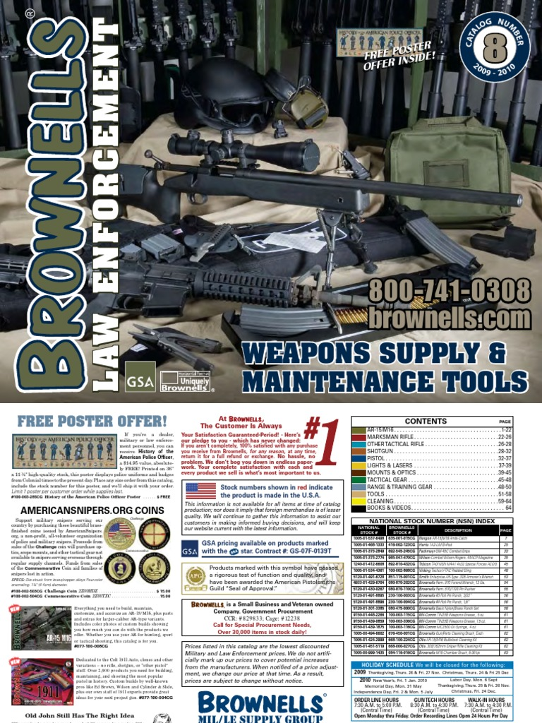 ad89b16051 31920323 Brownells Law Enforcement Catalog Weapons Supply and Maintenance  Tools CATALOG NO 8 2009 2010