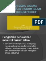 Pernikahan Beda Agan Menurut Hkm Islam & Hkm Positif