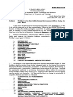 List of Govt Holidays of 2012