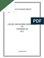 Genel Ekonomik Hedefler ve Yatırımlar 2011