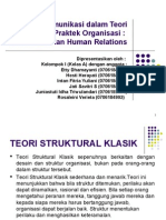 fungsi komunikasi dalam teori dan praktek organisasi