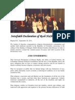 Interfaith Declaration of Rosh HaShanah 5772. Bogota, Colombia