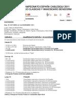 Programa Campeonato de España Cable Ski 2011 Benidorm