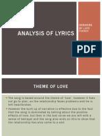 Analysis of Lyrics - SUNSHINE BY LUPE FIASCP