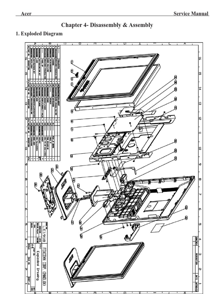 Acer TFT-LCD Color Monitor AL1917 Service Manual (LE1918)