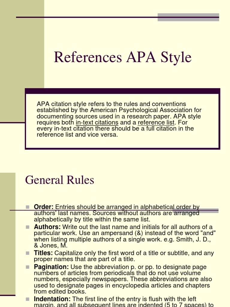 reference list research paper apa