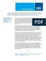 9-2 InternationalReliefandDevelopmentAwardedWorldBank ContractforAfghanistanMonitoringandCompliance