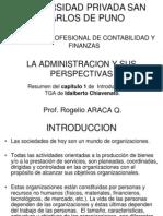 La Admin is Trac Ion y Sus Perspectivas Chiavenato