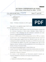 ECI RTI Reply Regarding EVMs