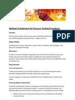 Method of Statement for Pressure Testing Procedures