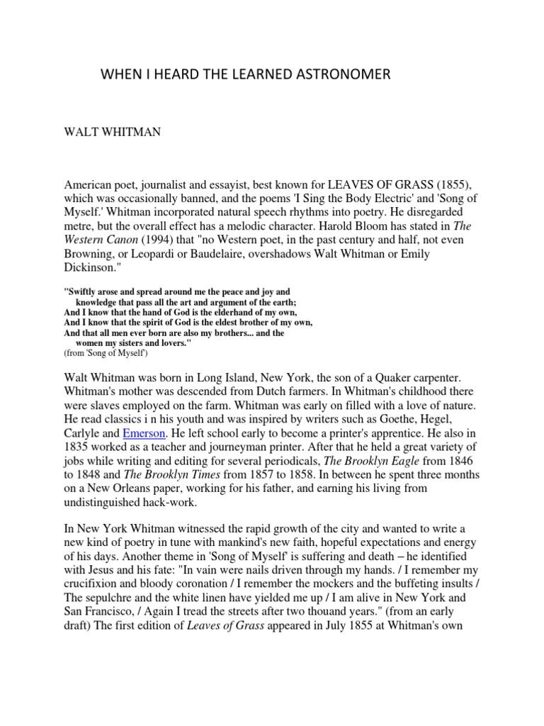 walt whitman astronomer