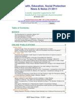 Health, Education, Social Protection News & Notes 21/2011