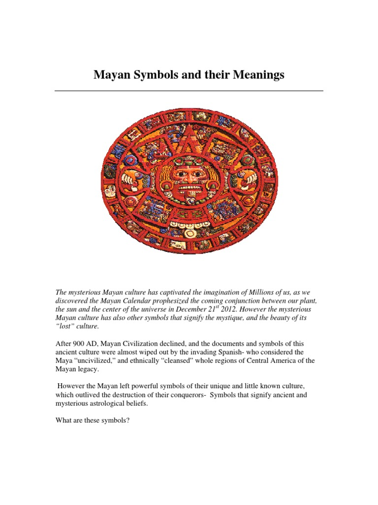 Mayan Symbols And Their Meanings Maya Civilization Symbols