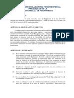 Reglamento de La Ley del Fondo Especial para Becas de la Universidad de Puerto Rico