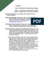 Lesson Plan 2 - Integers