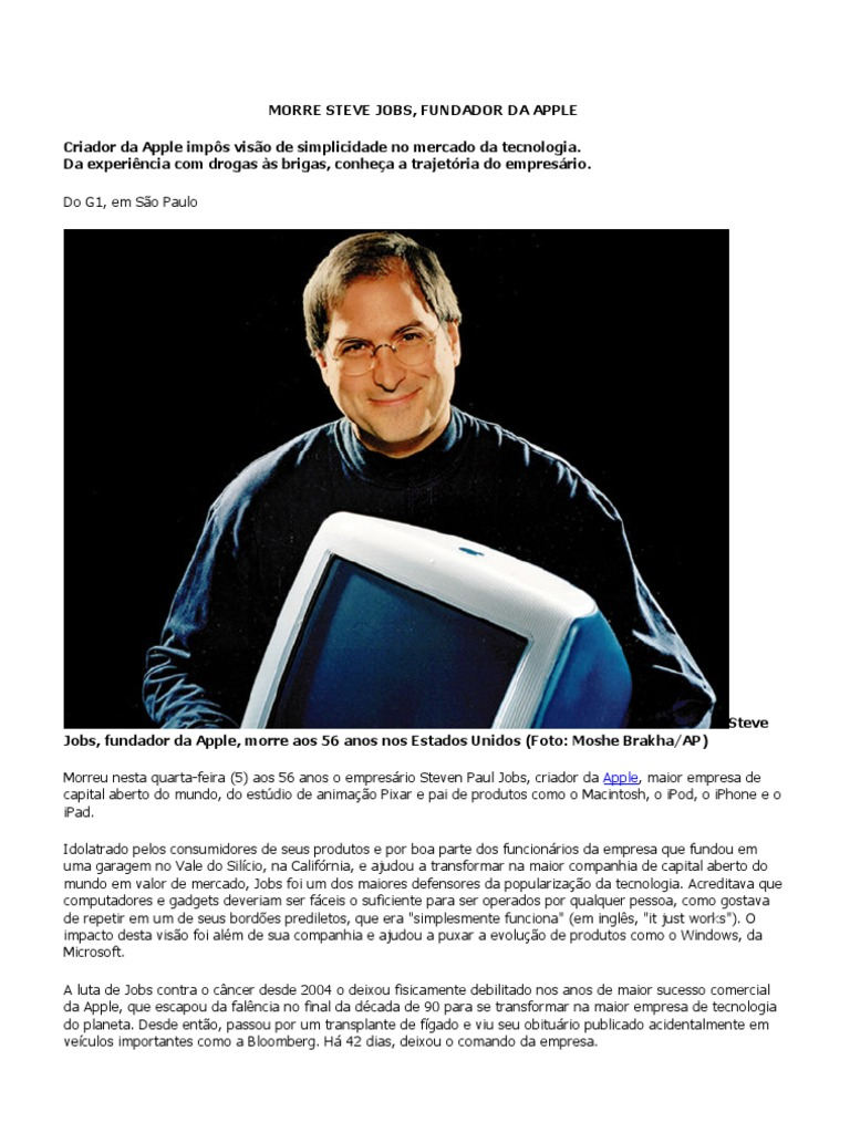 ccfad1f8964 Especial Steve Jobs, Fundador Da Apple