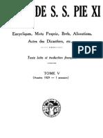 Actes de S.S. Pie XI - (Tome 5)