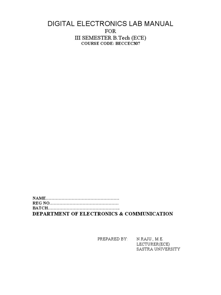 21425 9021 digital electronics lab manual integrated circuit rh scribd com experiments in analog and digital electronics laboratory manual for ece 3741 analog and digital circuits lab manual for ece 2013 regulations