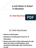 Philosophy and Values in School in Education