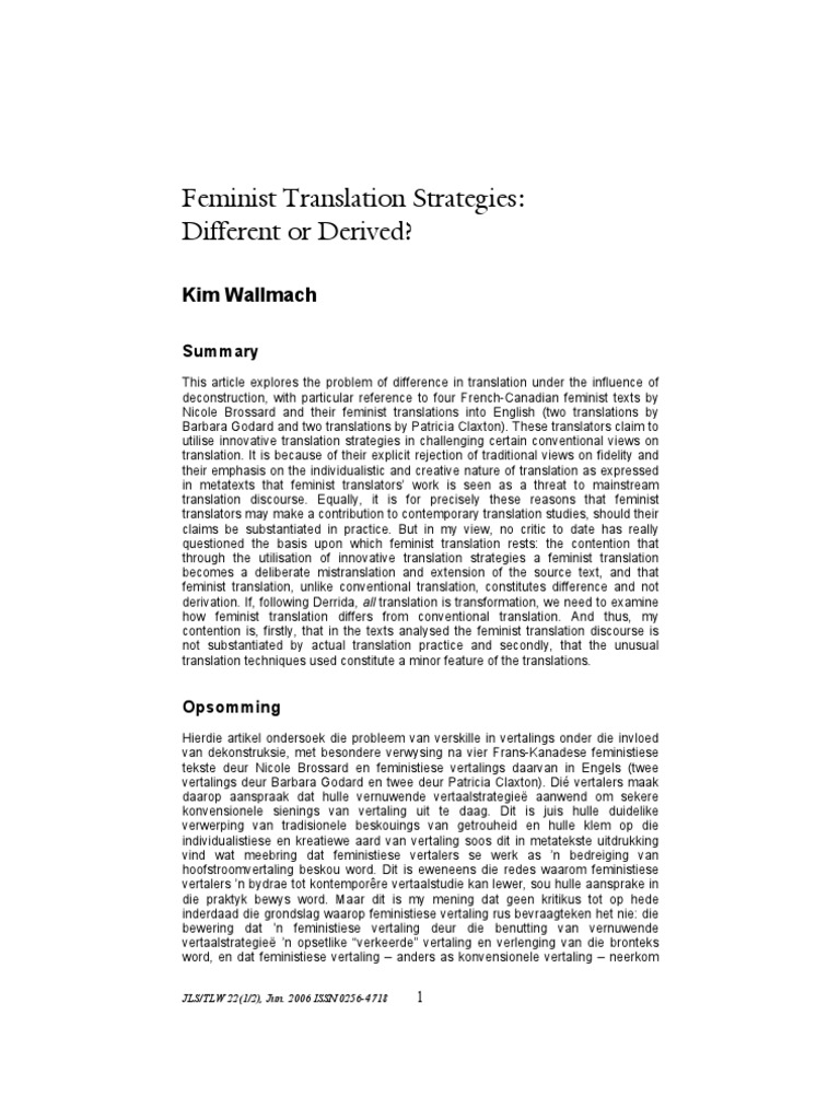 Wallmach_Feminist Translation Strategies_Different or Derived ...