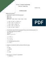 CSE 1003 - Computer Programming TestOct 2009
