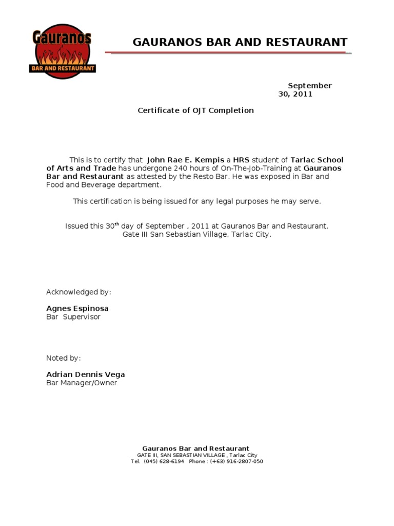 Sample ojt certificate of completion northurthwall yadclub Images