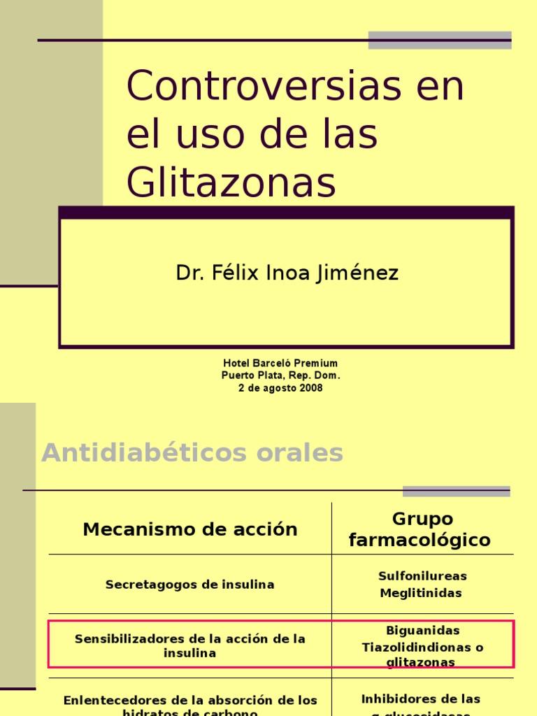asociación de diabetes glitazonas