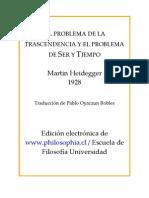 HEIDEGGER MARTIN - El Problema de La Trascendencia Y El Problema de Ser Y Tiempo
