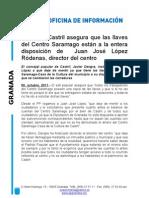 El PP de Castril asegura que las llaves del Centro Saramago están a la entera disposición de  Juan José López Ródenas, director del centro