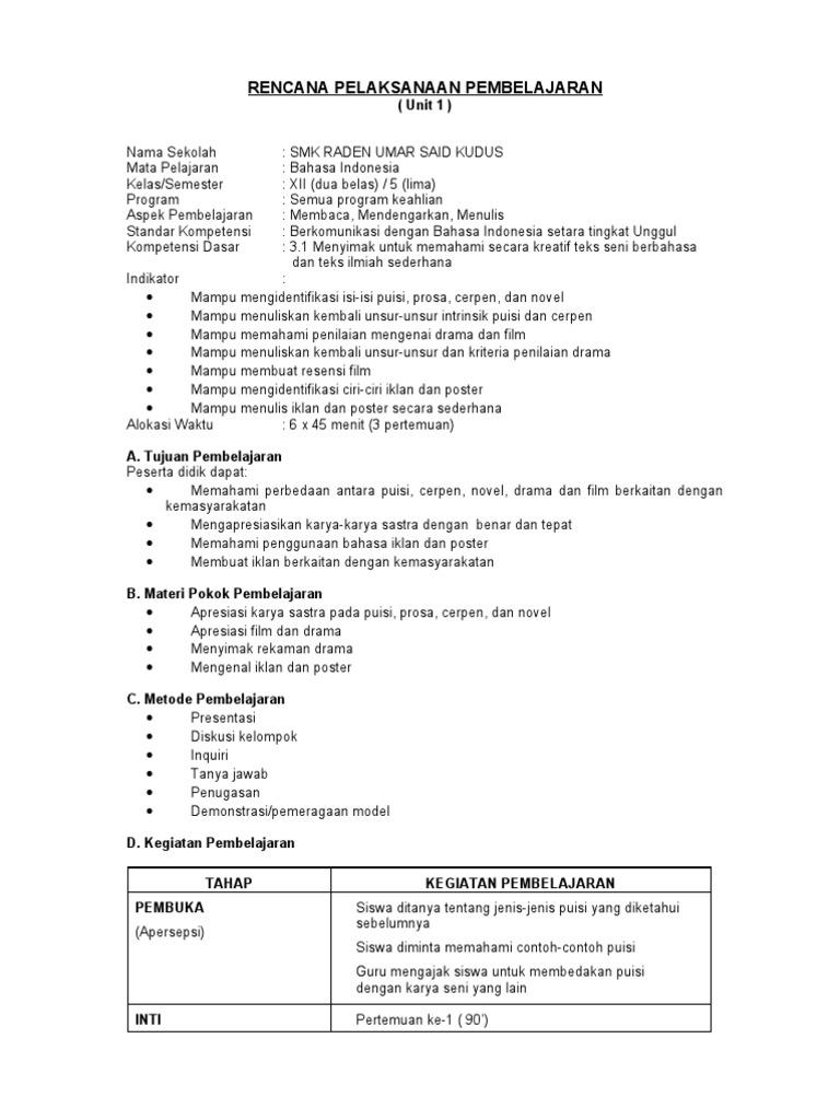 Rpp Bahasa Indonesia Smk Kelas 3