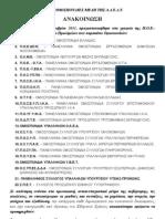 ΚΟΙΝΗ ΑΝΑΚΟΙΝΩΣΗ ΟΜΟΣΠΟΝΔΙΑΩΝ (10-10-2011)