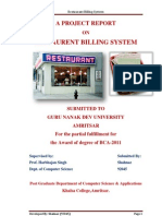 A PROJECT REPORT on Estaurent Billing System