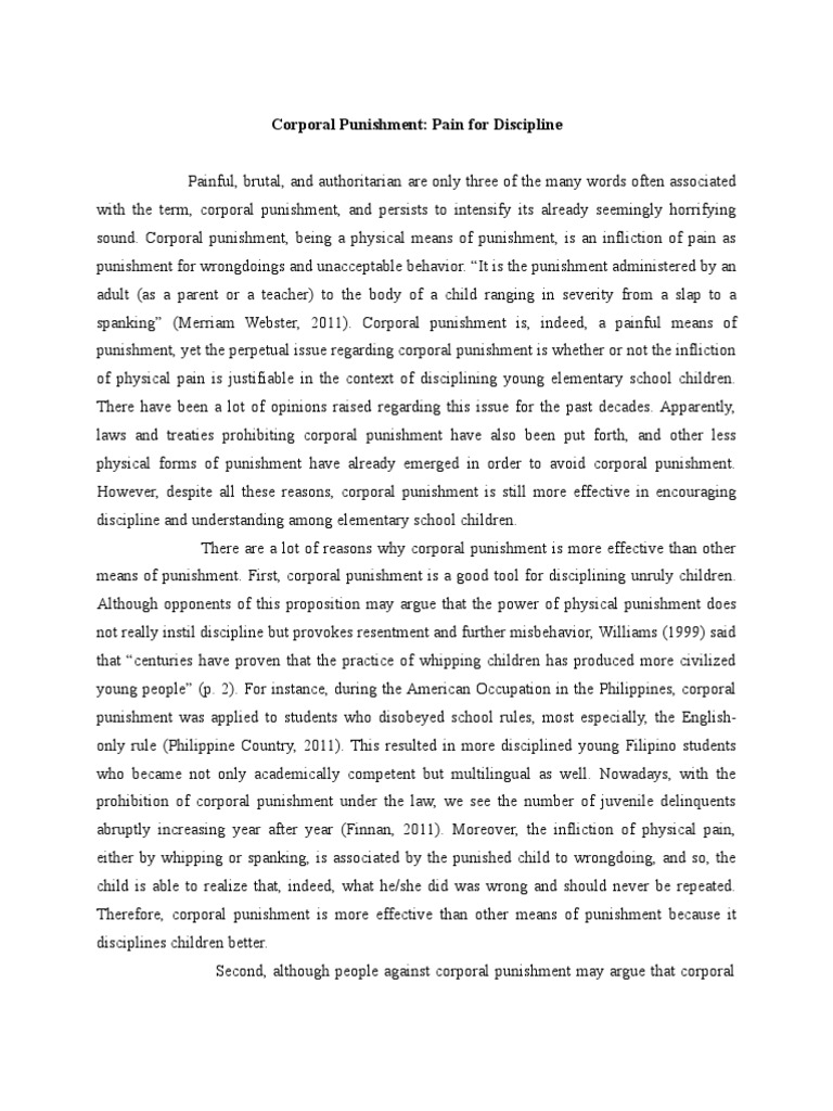 Argumentative Essay Final Draft Punishments Child Abuse  Argumentative Essay Final Draft