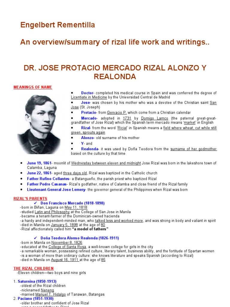Rizal Life Works Writings Summary 1 Manila Philippines