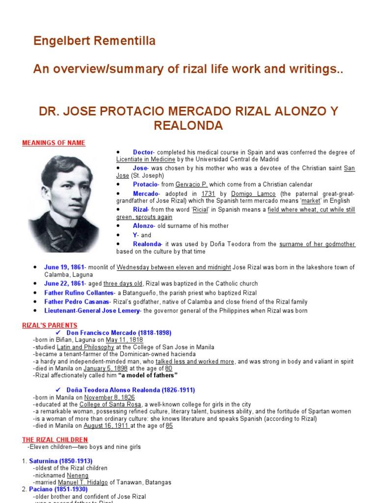 Family Background Of Jose Rizal Summary