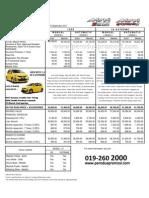 Price List Myvi 1.5