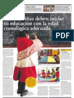 Niños y niñas deben iniciar su educación con la edad cronológica adecuada