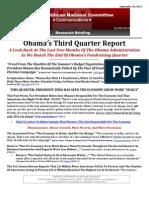 Obama's Third Quarter Report