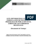 GUÍA METODOLÓGICA PARA LA FORMULACIÓN DE POLÍTICAS Y PROGRAMAS DE POBLACIÓN EN EL ÁMBITO DE LOS G