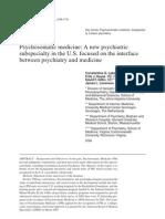 Psychosomatic Medicine - Psychiatric Sub Specialty
