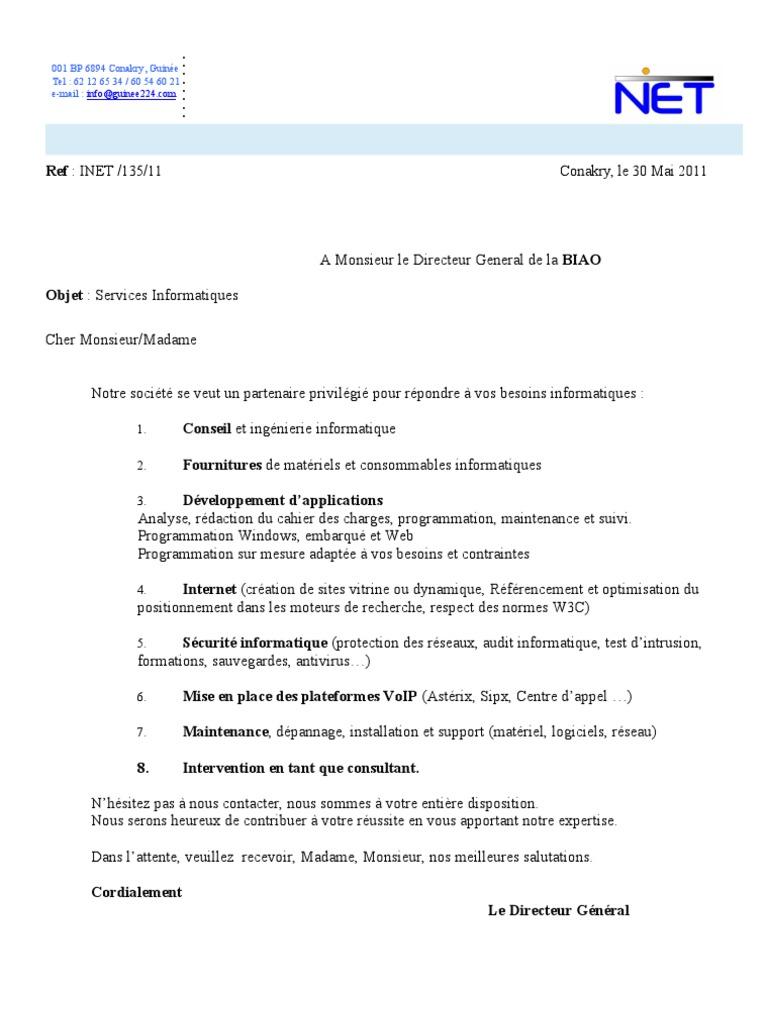 lettre proposition de services