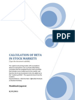 Calculation of Beta in Stock Markets