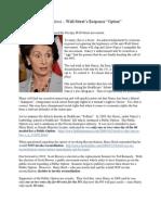 Nancy Pelosi - Wall Street's Option