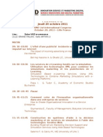 Programme 1er Colloque ISMD (innovation service et  marketing digital) du jeudi 20 octobre