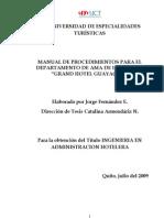 Manual Procedimientos Para Depart Amen To Ama de Llaves Grand Hotel Guayaquil