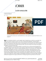 New Yorker Article - Annals of Innovation - How David Beats Goliath