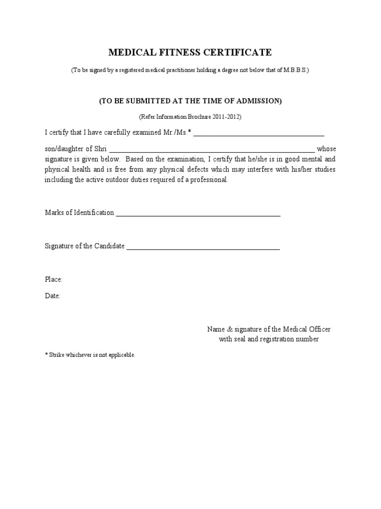 9 Medical Fitness Certificate Format – Medical Certificate Format