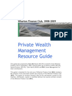 Private Wealth Management Resource Guide 2008-2009