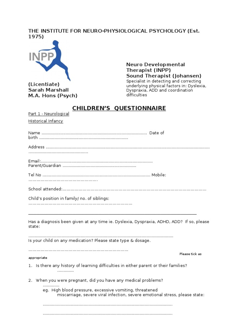 Dating learning difficulties questionnaires
