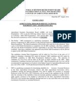 Notification for ARSNET Examination-2011